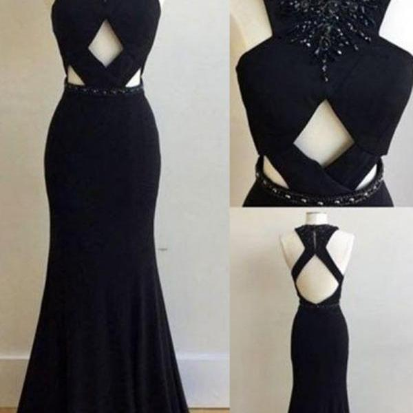 Elegant Black Mermaid Long Prom Dress Evening Dress,Long Evening Dress
