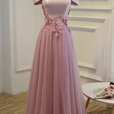Charming Pink Satin Prom Dresses,Tulle Off Shoulder Formal Dresses, Pink Party Dresses, Prom Dress ,Long Evening Dress