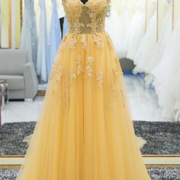 Beautiful Yellow Lace Prom Dress,Tulle Long Formal Gowns, Yellow Prom Dresses, Party Dresses,Long Evening Dress