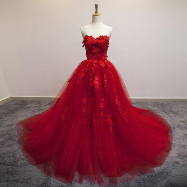 Gorgeous Sweetheart Red Long Formal Dresses, Red Party Gowns, Princess Gowns, Prom Dresses,Long Evening Dress