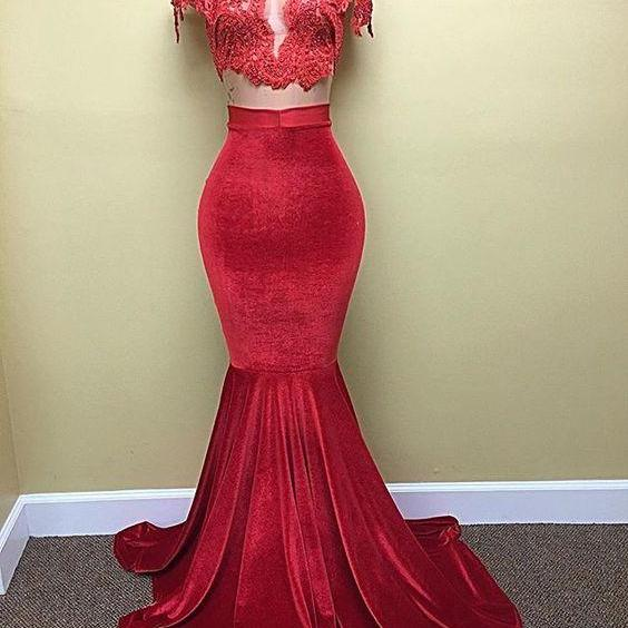 Evening Dress.Two Pieve Prom Dress,Velvet Prom Evening Dress,Mermaid Prom Dresses,Cap Sleeves Evening Dresses,Lace Prom Dess,High Neck Prom Dresses,Pearls Prom Party Dresses