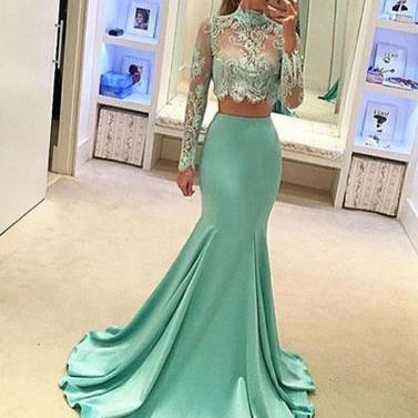 light green two pieces long prom dress, mermaid lace long sleeve evening dresses,formal dresses
