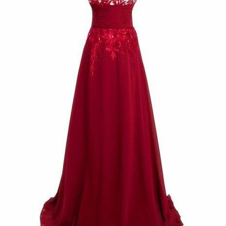 Red Long Evening Dress Prom Gown Sexy Lace Homecoming Gowns ,Lace Evening Gowns,New Evening Dresses