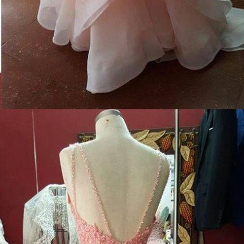 Pink Prom Dress,Beaded Prom Dresses,Backless Formal Dress,Fashion Prom Dress,Sexy Party Dress, New Style Evening Dress