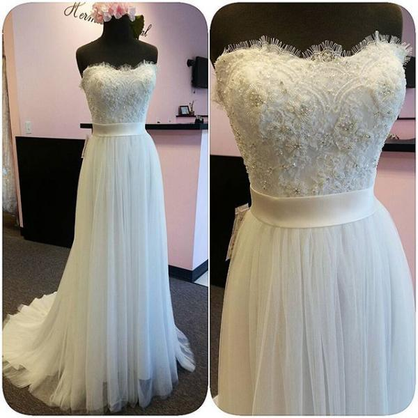 Romantic Tulle Lace White Wedding Dresses Sexy Sweetheart Backless, Sweep Train Cheap Long Bridal Dresses With Waist Sash, Sexy Backless Long White Robe De Marriage, A Line Vintage White Wedding Gowns Plus Size