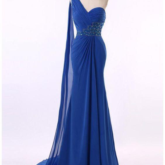 One Shoulder Amazing Royal Blue Chiffon Beading Trumpet Mermaid Prom Dress,long mermaid Prom Dress,Prom Gowns,Evening Dress