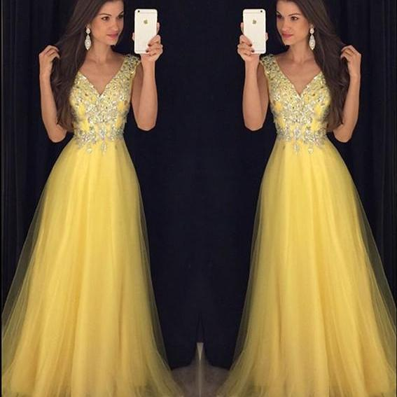 Glitter Beading V Neck Long Yellow Prom Dresses ,Women's Formal Evening Gowns,Long Evening Dresses
