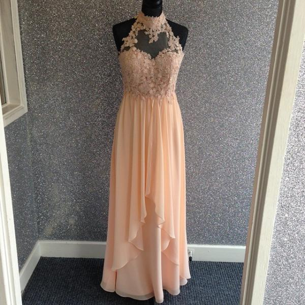 Modest Prom Dress,Elegant Lace Halter Long Chiffon Champagne Prom Dresses Prom Dress, Long Evening Dresses