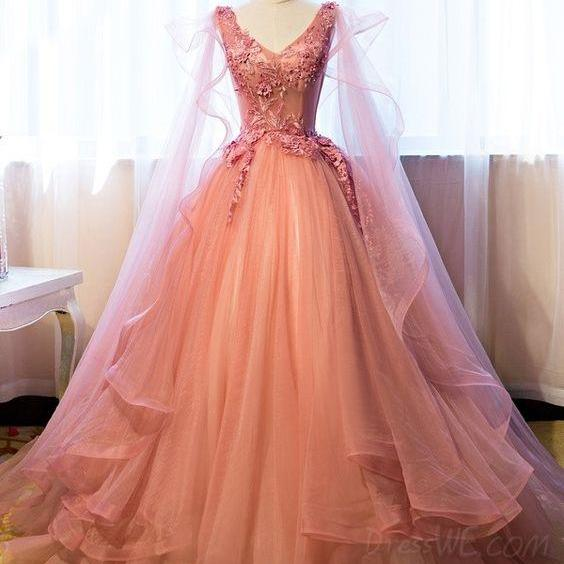 Pink V-Neck Appliques Prom Dresses,Beading Prom Dress,Floor-Length Quinceanera Ball Gown Dress