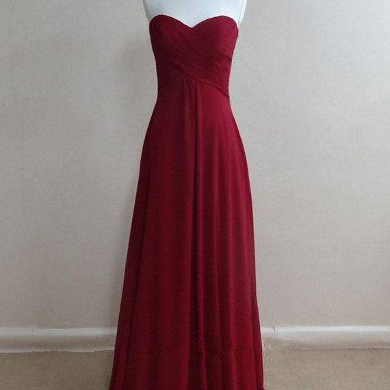 Bridesmaid Gown,Pretty Burgundy Prom Dresses,Chiffon Prom Gown, Simple Bridesmaid Dress,Cheap Evening Dresses,Fall Wedding Gowns