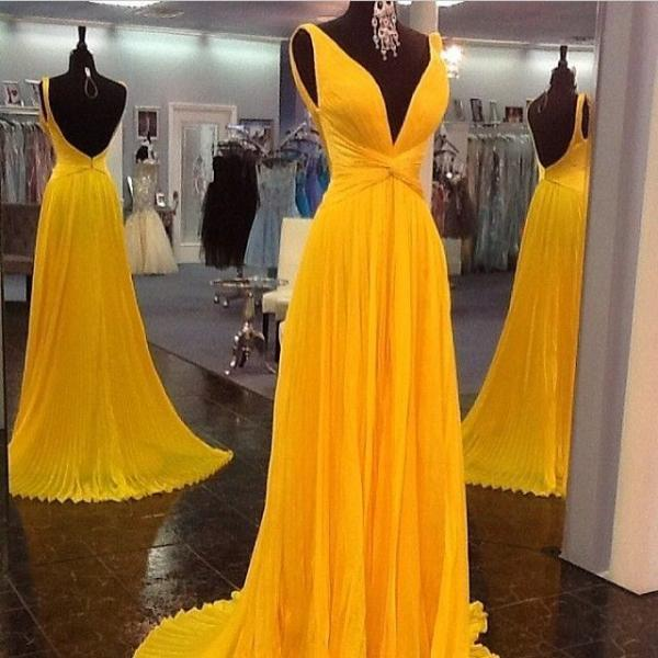 Yellow Prom Dresses,Backless Prom Gown,Open Back Evening Dress,Chiffon Prom Dress,Sexy Evening Gowns,Yellow Formal Dress,Wedding Guest Prom Gowns