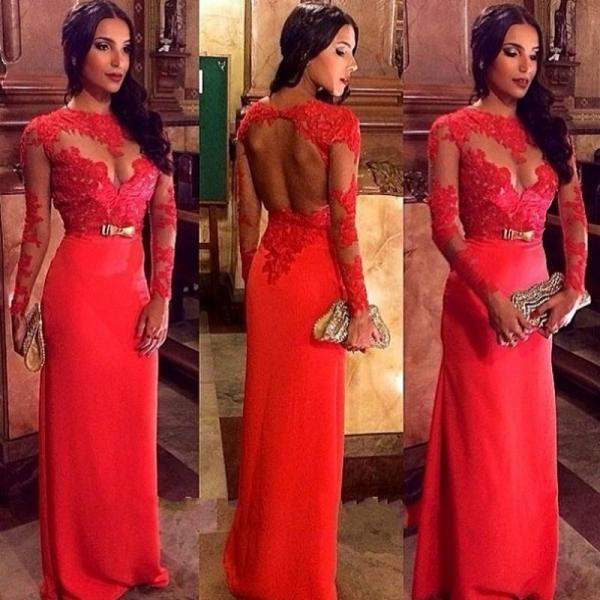 Red Prom Dress,Mermaid Prom Dress,Lace Prom Gown,BeadedProm Dresses,Sexy Evening Gowns,Long Sleeves Evening Gown,Open Back Formal Party Dress For Teens