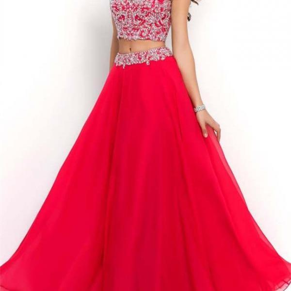 Beaded Prom Dresses,Beading Prom Dress,Red Prom Gown,2 Pieces Prom Gowns,Elegant Evening Dress,A Line Evening Gowns,2 Piece Evening Gowns,Sparkly Prom Dress