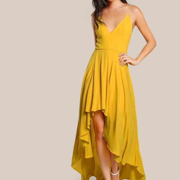 Backless High Low Cami Dress Yellow Long Chiffon Prom Dress,Floor-Length Prom Dresses