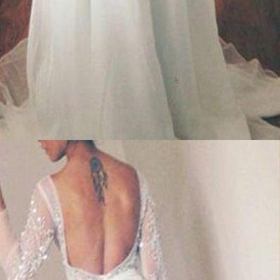 White Backless Long Sleeves Bateau Sweep Train Prom Dress with Lace Beading,Long Evening Dress,Elegant Prom Dresses,Floor Length Homecoming Dress