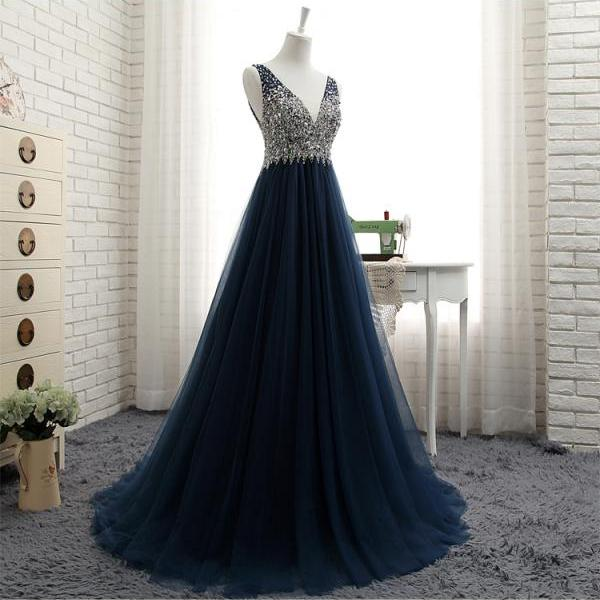 Navy blue A-line beading long prom dress,formal dresses,Long Evening Dress,Elegant Prom Dresses,Floor Length Homecoming Dress