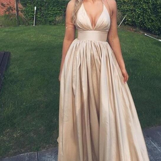 Champagne V-neck long prom dress,A-line satin prom gowns,evening dress,formal dresses