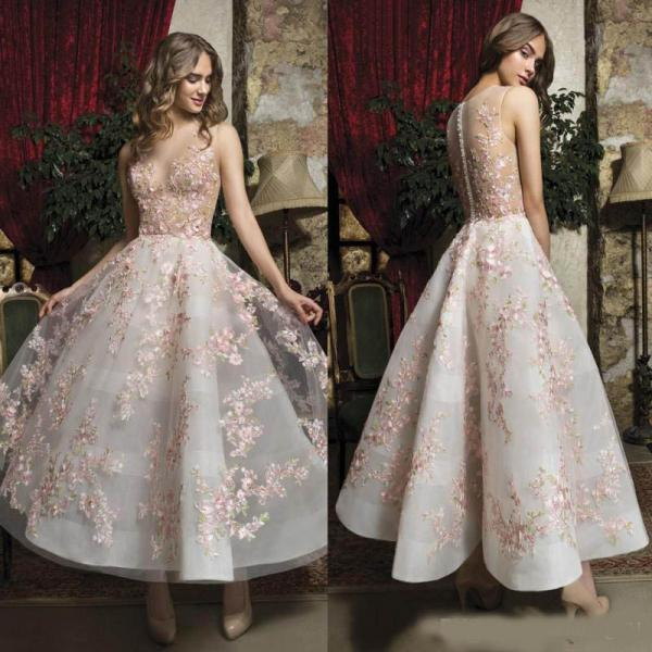 Fabulous Pink Floral Prom Dresses, Appliqued Sheer Jewel Neck A Line Homecoming Dresses,Short Formal Evening Gowns ,Buttons Back Ankle Length Homecoming Dress