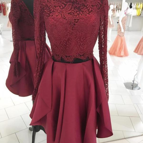 Long Sleeves Two Piece Short Burgundy Homecoming Dress ,Party Dress Prom Dress