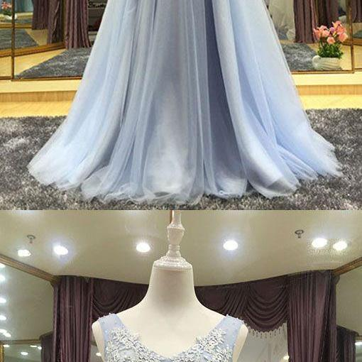 Elegant gray tulle lace long prom dress, tulle lace long bridesmaid, lace evening dress